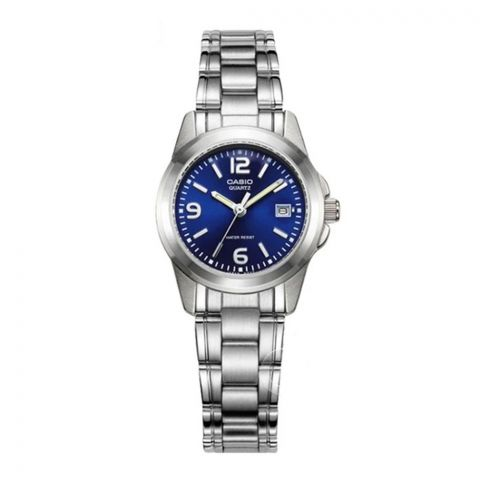 Casio Enticer Women's Blue Dial Stainless Steel Watch, LTP-1215A-2ADF