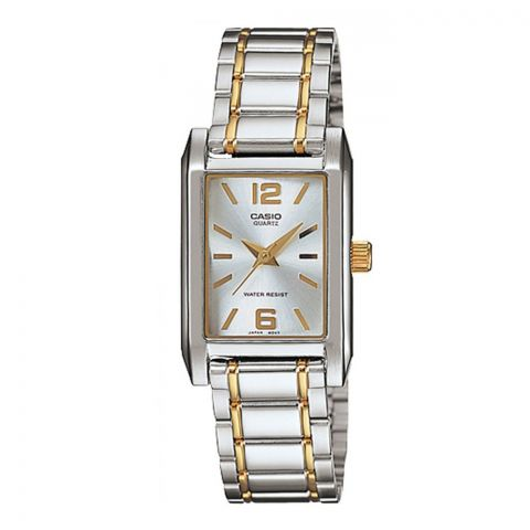 Casio Enticer Women's Silver Rectangle Dial Stainless Steel Watch, LTP-1235SG-7ADF