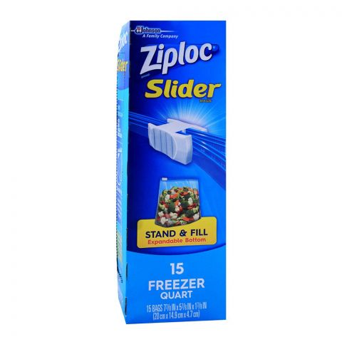 Ziploc Slider Zipper Freezer Bags, Quart, 15-Pack