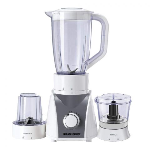 Black & Decker Blender With Grinder And Mincer Mill, White, 500 Watts, BX580
