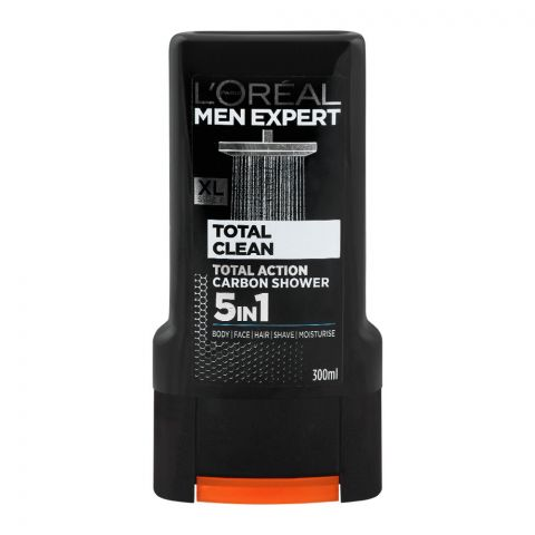 L'Oreal Paris Men Expert Total Clean 5-In-1 Body + Face + Hair Shower Gel, Total Action Carbon, 300ml