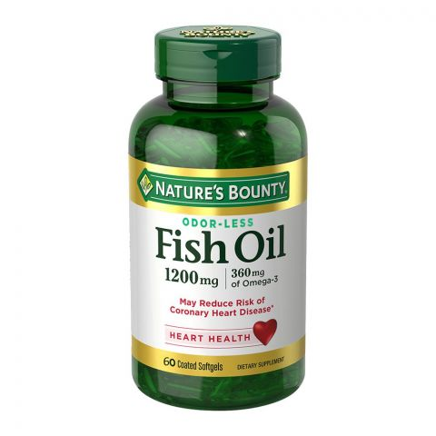 Nature's Bounty Fish Oil 1200mg, 60 Coated Tablets, Dietary Supplement