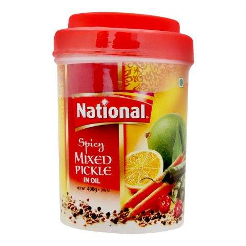 National Spicy Mixed Pickle In Oil, Jar, 400g