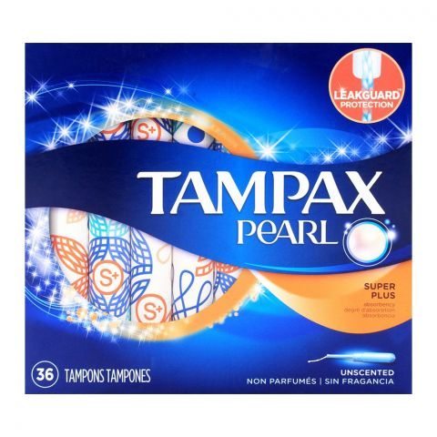 Tampax Pearl Super Plus Unscented Tampons 36-Pack