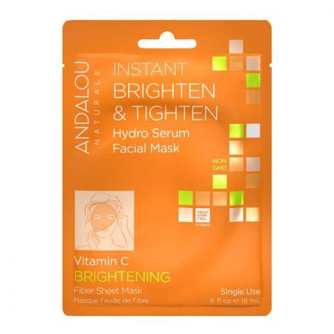 Andalou Instant Brighten & Tighten Hydro Serum Facial Mask 18ml