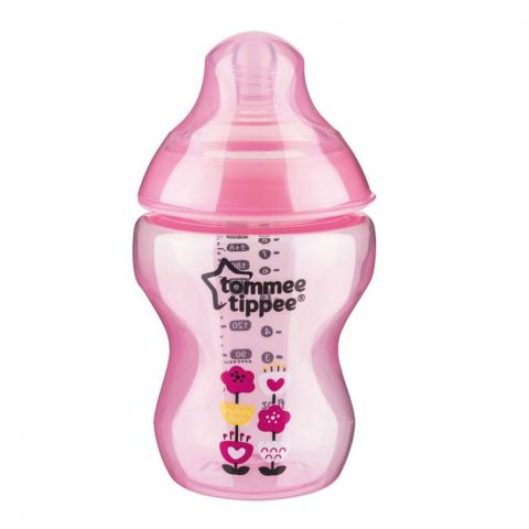 Tommee Tippee 0m+ Slow Flow Decorated Feeding Bottle 260ml (Pink) - 422571/38