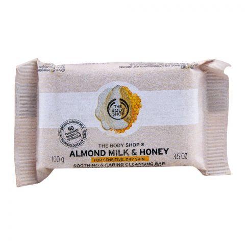 The Body Shop Almond Milk & Honey Cleansing Bar, For Sensitive & Dry Skin, 100g