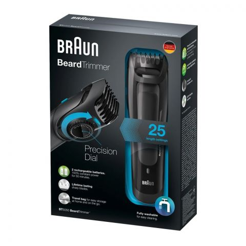 Braun Beard Trimmer, Rechargeable, 25 Length Settings, Black, BT-5050