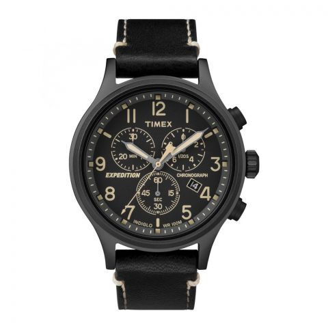 Timex Men's Expedition Chronograph Leather Strap Black Dial Watch - TW4B09100