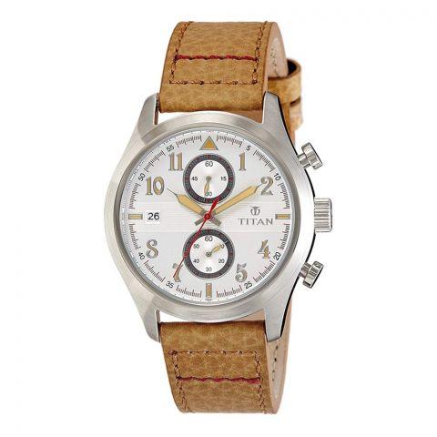Titan Analog Round White Dial Men's Watch, 90052SL01