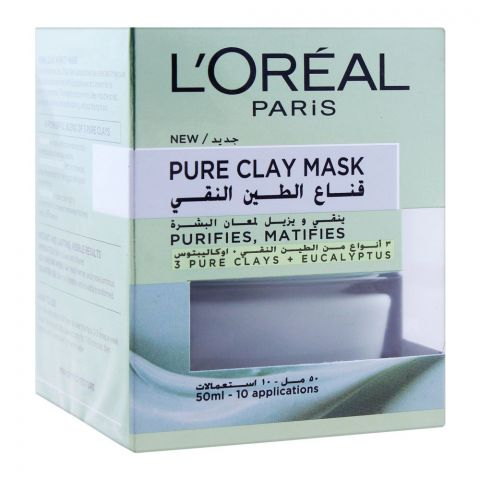 L'Oreal Paris Pure Clay Mask, Purifies & Mattifies, 50ml