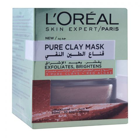 L'Oreal Paris Pure Clay Mask, Exfoliates & Brighten, 50ml
