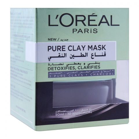 L'Oreal Paris Pure Clay Mask, Detoxifies & Clarifies, 50ml