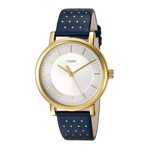 Timex Women's Originals Blue/Gold Leather Strap Watch - TW2R27600