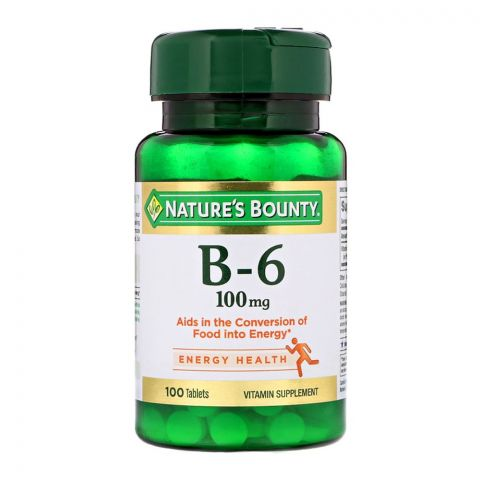Nature's Bounty B-6, 100mg, 100 Tablets, Vitamin Supplement