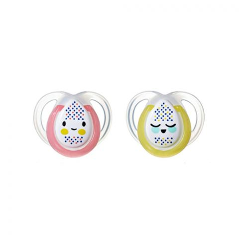 Tommee Tippee Glow-in-the-Dark Soother 2-Pack 0-6m (Pink/Yellow) - 433372/38