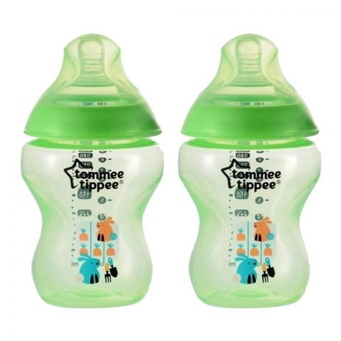 Tommee Tippee 2-Pack 0m+ Slow Flow Decorated Feeding Bottles 260ml (Green) - 422582