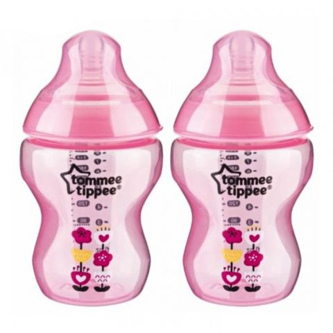 Tommee Tippee 2-Pack 0m+ Slow Flow Decorated Feeding Bottles 260ml (Pink) - 422581
