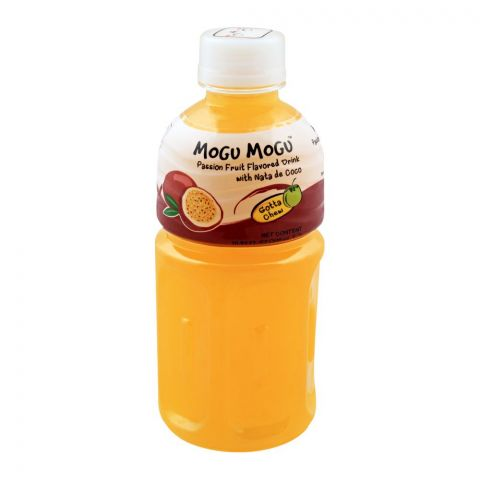 Mogu Mogu Passion Fruit Flavored Drink, With Nata De Coco, 320ml
