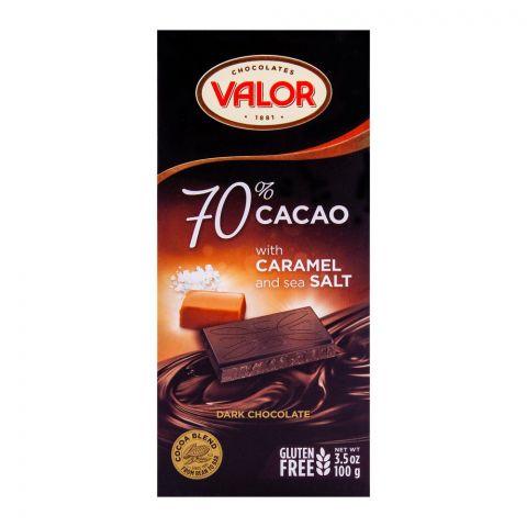 Valor Dark Chocolate 70% Caramel Sea Salt, Gluten Free, 100g