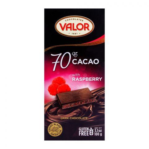 Valor Dark Chocolate 70%, Raspberry 100g