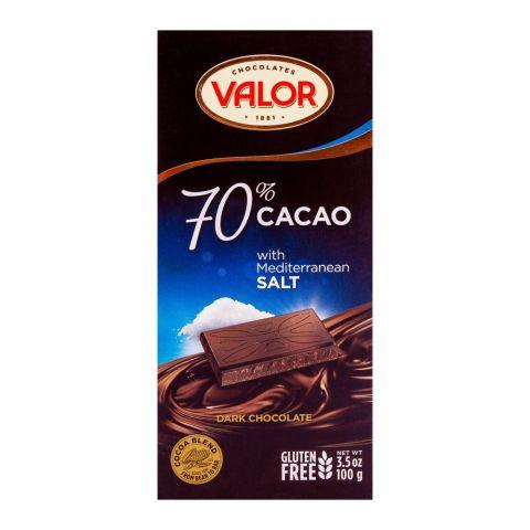 Valor Dark Chocolate 70% Mediterranean Salt, Gluten Free 100g