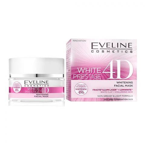 Eveline 48H White Prestige 4D Whitening Facial Mask, Oily & Combination Skin, 50ml