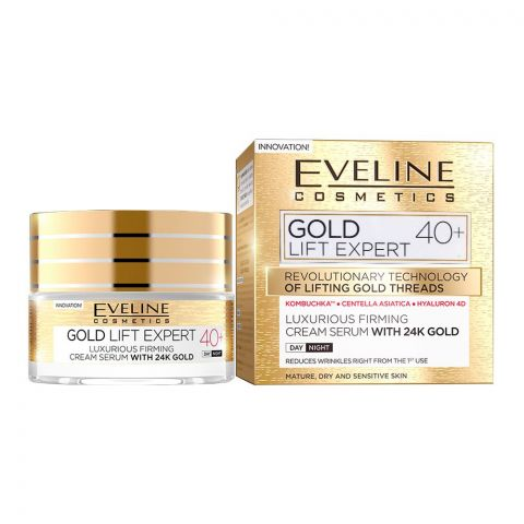 Eveline Gold Lift Expert 40+ Day And Night Firming Cream Serum, With 24K Gold, Mature, Dry & Sensitive Skin, 50ml