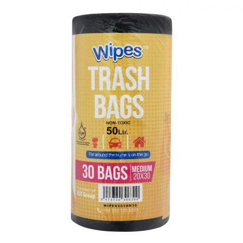 Wipes Trash Bags, Medium, 20x30, 50 Liters, 30-Pack