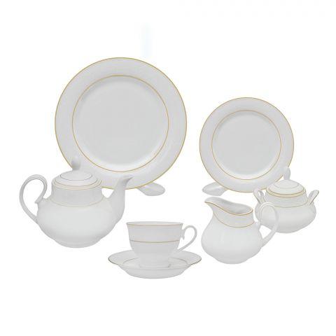 Cera-E-Noor Elegant Florence White Tea Set, 24 Pieces, 611021