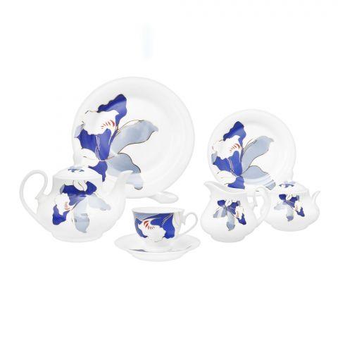 Cera-E-Noor Elegant Blue Bell Tea Set 24 Pieces, 611021