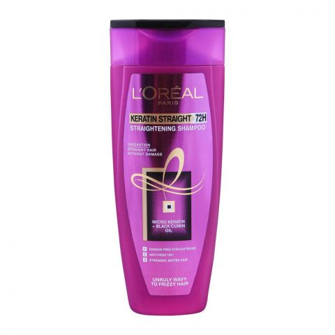 L'Oreal Paris Keratin Straight 72H Straightening Shampoo, For Unruly Wavy To Frizzy Hair, 175ml