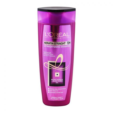 L'Oreal Paris Keratin Straight 72H Straightening Shampoo, For Unruly Wavy To Frizzy Hair, 360ml
