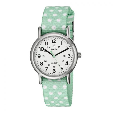 Timex Women's Weekender Green Polka Dot Silver - Tone Case White Dial TW2P65500