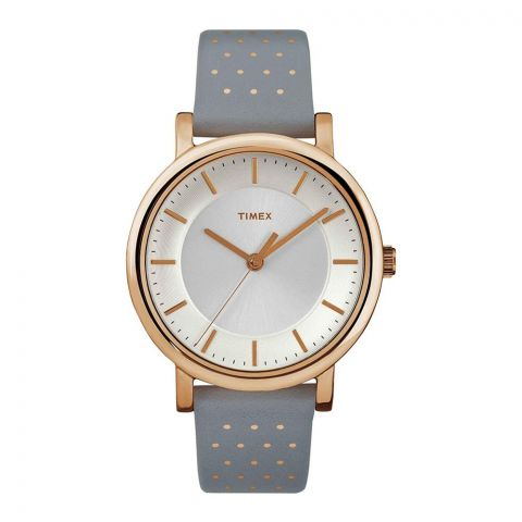 Timex Women's Classic Originals Gold/Grey Leather Band Analog Watch - TW2R27400