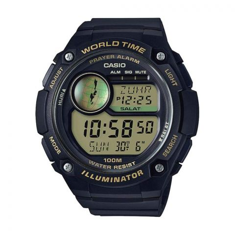 Casio Youth Series Black Illuminator Digital World Time Men's Watch, Resin Strap, CPA-100-9AVDF