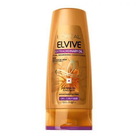 L'Oreal Paris Elvive Extraordinary Oil Curls Nourishing Conditioner, For Dry Curly Hair, 375ml
