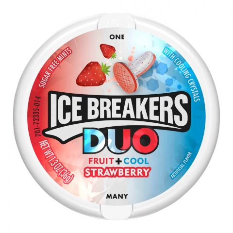 Ice Breakers Duo Fruit + Cool Strawberry Mints, Sugar Free, 36g