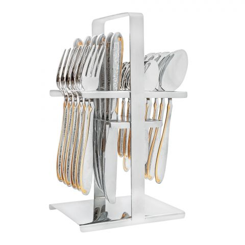 Elegant Exclusive Laser Stainless Steel Cutlery Set, 24 Pieces, DD0007G