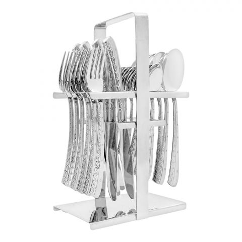 Elegant Exclusive Laser Stainless Steel Cutlery Set, 24 Pieces, DD0010S