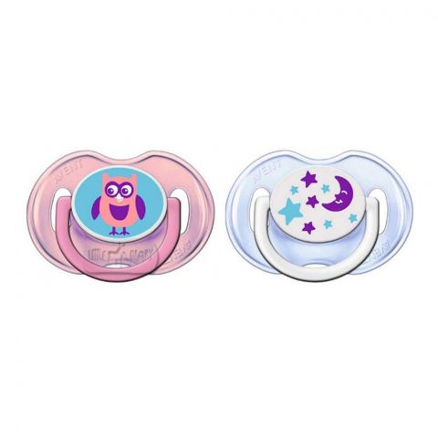 Avent Fashion Soothers, 2-Pack, 0-6m, Pink/Blue, Owl/Stars, SCF196/18