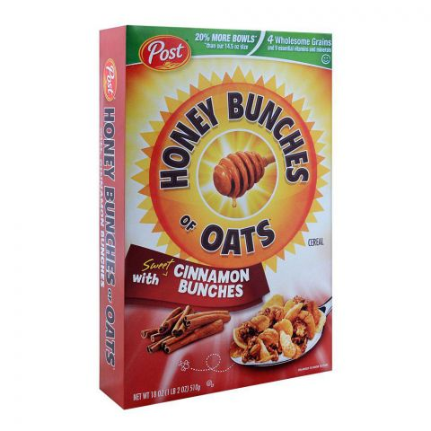 Post Cinnamon Bunches Honey Bunches of Oats Cereal 510g