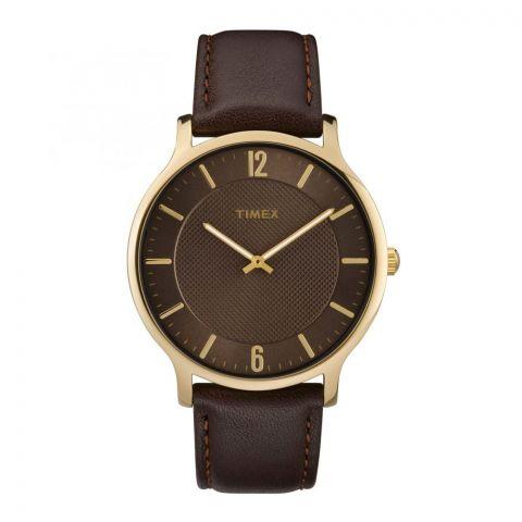 Timex Men's Metropolitan 40mm Leather Brow-Dress Slim Profile Watch - TW2R49800