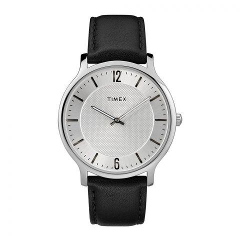 Timex Metropolitan 40mm Silver-Tone Black Leather/Silver Dial TW2R50000