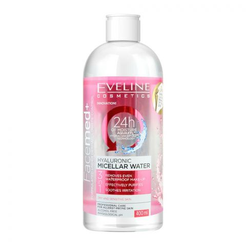 Eveline Facemed+ 3-In-1 Hyaluronic Micellar Water, Alcohol Free, 400ml