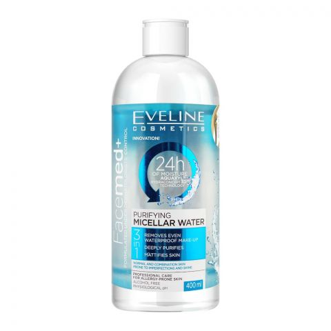 Eveline Facemed+ 3-In-1 Purifying Micellar Water, Alcohol Free, 400ml