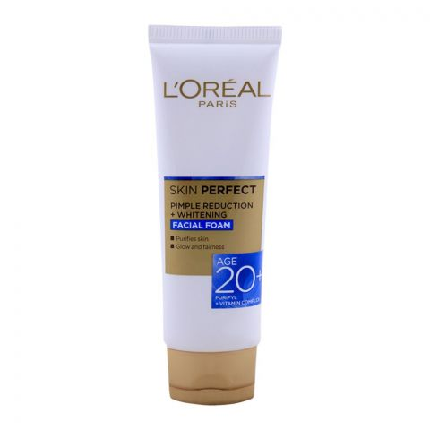 L'Oreal Paris Skin Perfect Pimple Reduction + Whitening Facial Foam, Age 20+, 50g