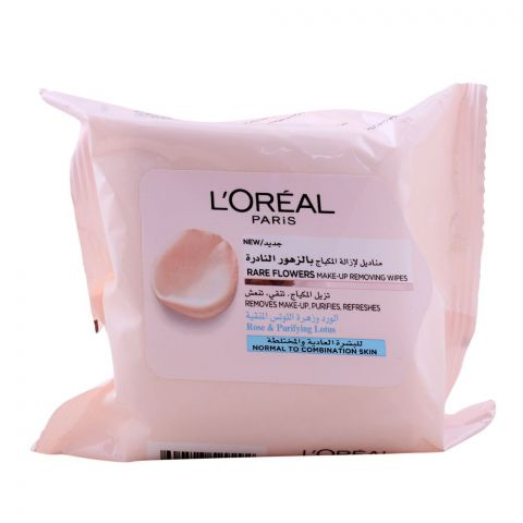 L'Oreal Paris Rare Flowers Make-Up Removing Wipes, Rose & Purifying Lotus, 25-Pack, Normal to Combination Skin