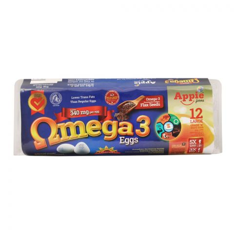 Appie Farms Omega-3 Grade A White Eggs, 12-Pack