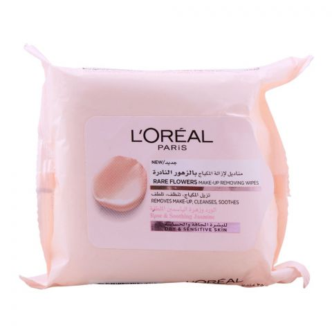 L'Oreal Paris Rare Flowers Make-Up Removing Wipes, Rose & Soothing Jasmine, 25-Pack, Dry & Sensitive Skin